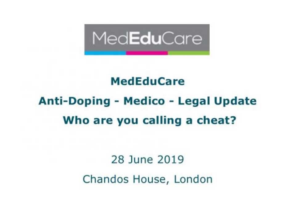MedEduCare Update Day on Anti-Doping - Medico - Legal Issues