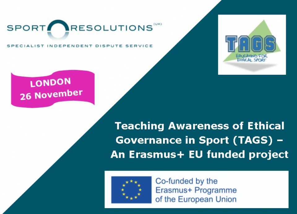 Teaching Awareness of Ethical Governance in Sport (TAGS) – An Erasmus+ EU funded project