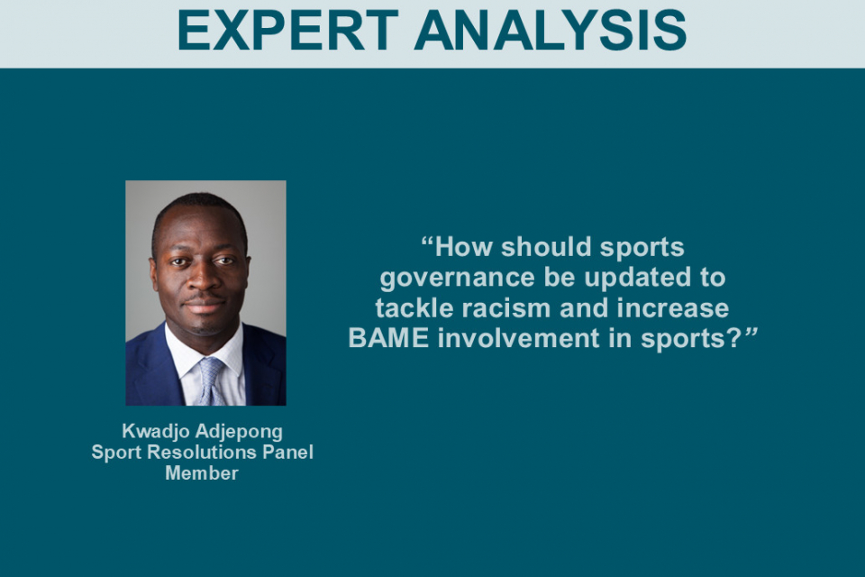 How should sports governance be updated to tackle racism and increase BAME involvement in sports?